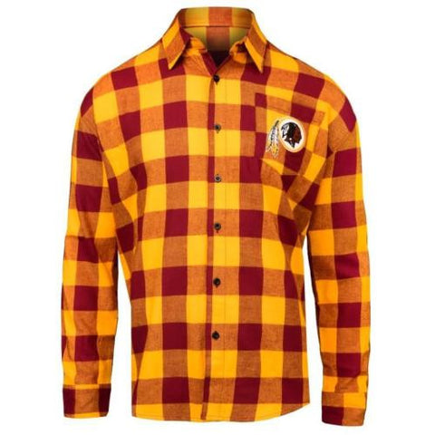 Washington Redskins NFL Mens Football Large Check Flannel Shirt