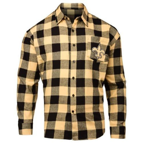 New Orleans Saints NFL Mens Football Large Check Flannel Shirt