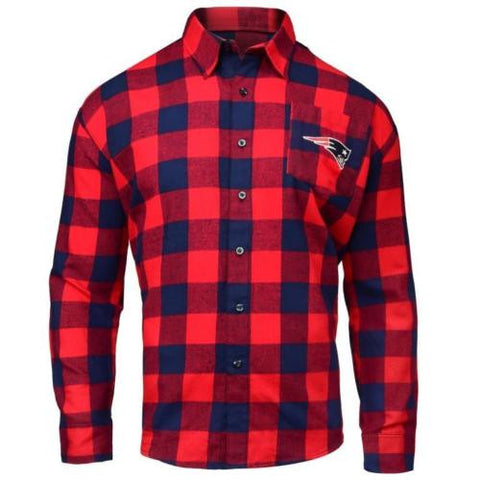 New England Patriots NFL Mens Football Large Check Flannel Shirt