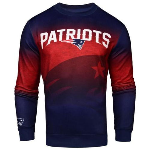 New England Patriots NFL Printed Gradient Crew Neck Sweater