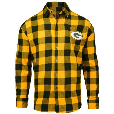 Green Bay Packers NFL Mens Football Large Check Flannel Shirt