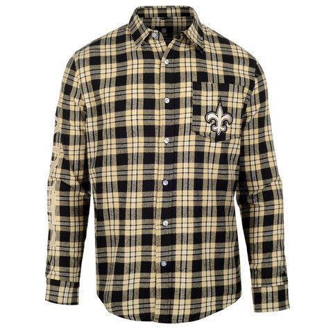 New Orleans Saints Wordmark Long Sleeve NFL Flannel Shirt By Klew
