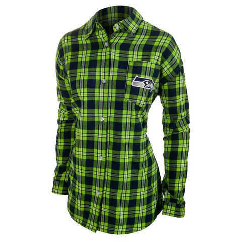 Seattle Seahawks Wordmark Long Sleeve Women's NFL Flannel Shirt by Klew
