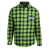 Seattle Seahawks Wordmark Long Sleeve Men's NFL Flannel Shirt by Klew