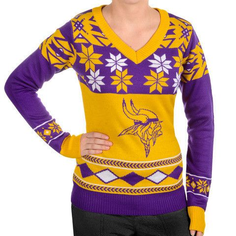 "Minnesota Vikings Women's Official NFL""big Logo"" V-neck Sweater By Klew"