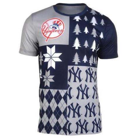 New York Yankees MLB Baseball  Busy Block Ugly Tee T-Shirt