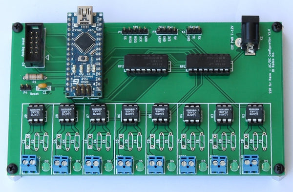Solid state relay expansion board for Arduino Nano - AC/DC configuration