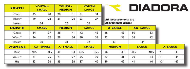 Diadora Apparel Sizing Chart