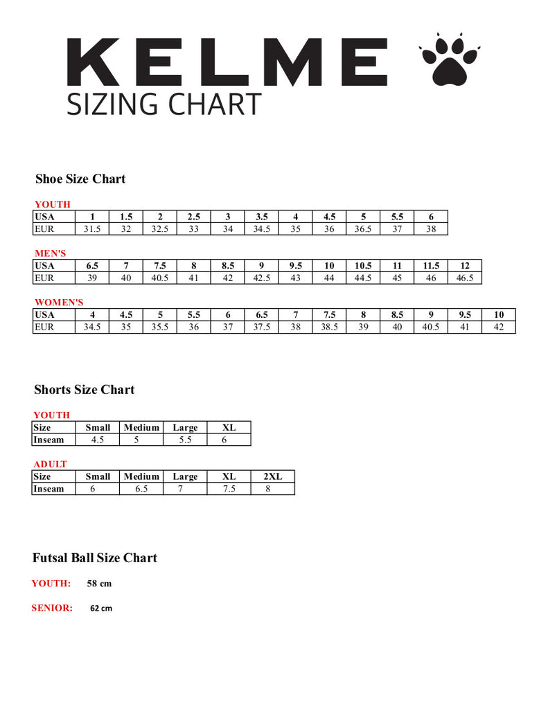 Kelme Soccer and Futsal Sizing Chart