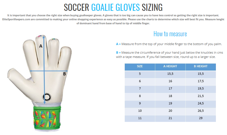 Elite Sport Goal Keeping Sizing Chart, Elite Sport GK