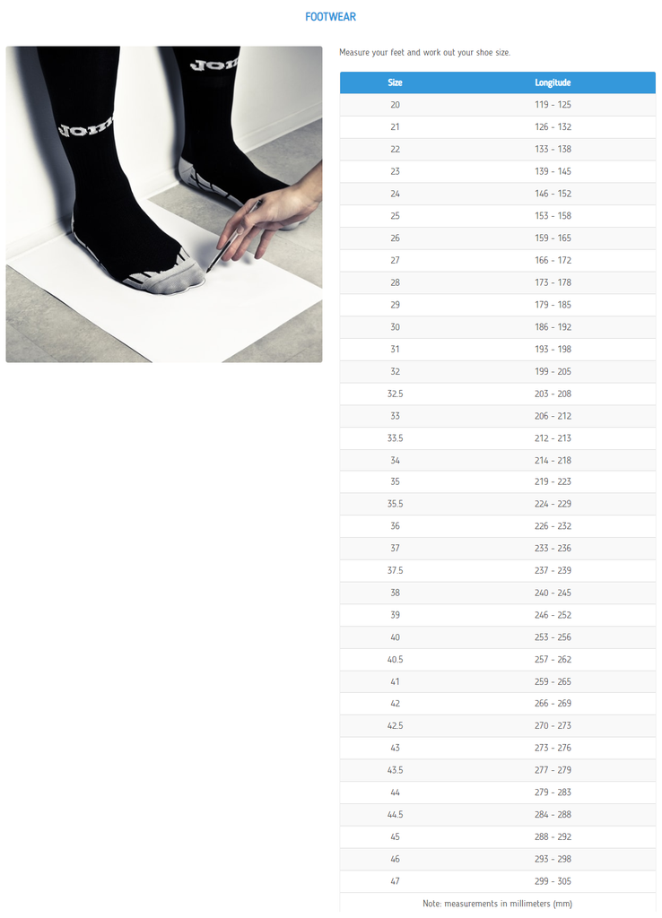 Joma Footwear Shoes Sizing Chart, Joma Footwear Shoes Size Chart