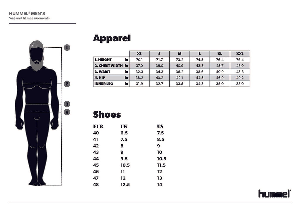 hummel men's sizing chart