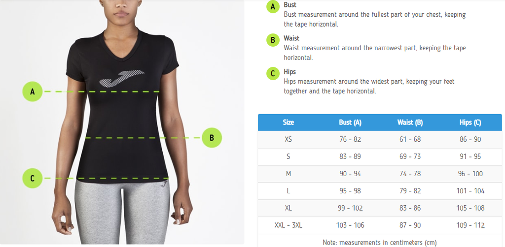 Joma Women's Tops Sizing Chart