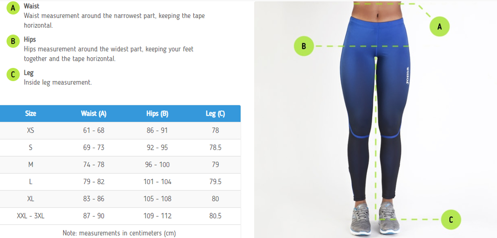 Joma Women's Bottoms Sizing Chart