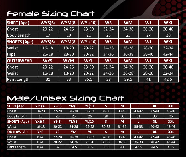 Xara Apparel Sizing Chart