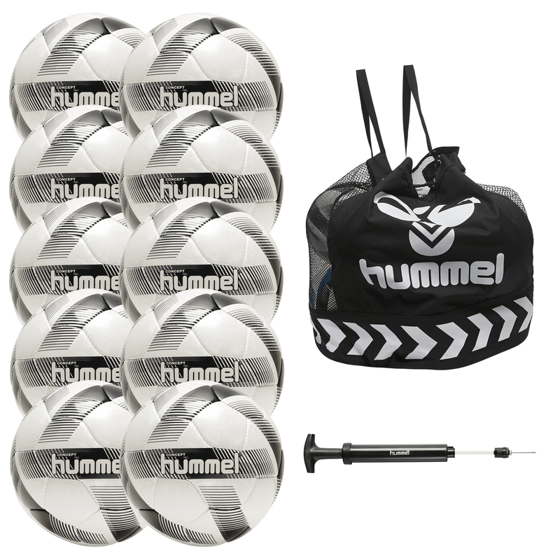 hummel Concept Pro Soccer Ball 10-Pack with Core Ball Bag and Ball Pump-Soccer Command