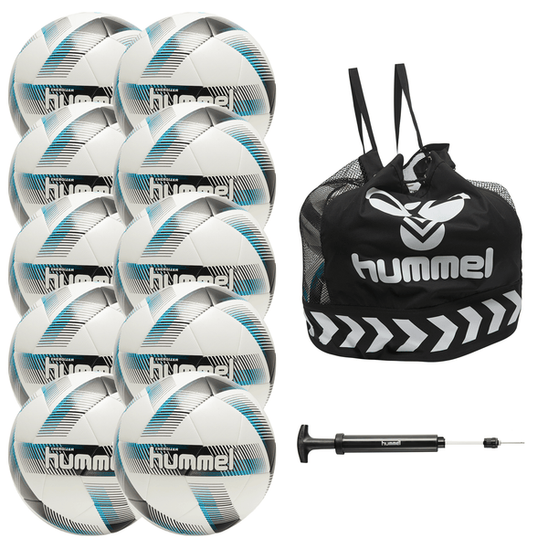 hummel Energizer Soccer Ball 10-Pack with Core Ball Bag and Ball Pump-Soccer Command