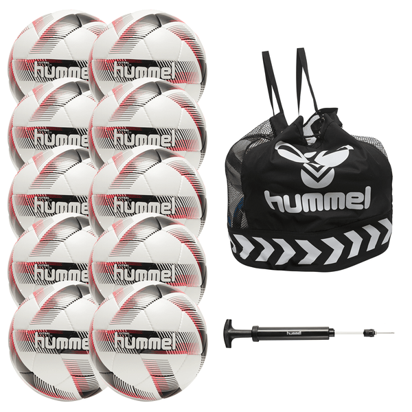 hummel Futsal Elite Ball 10-Pack with Core Ball Bag and Ball Pump-Soccer Command