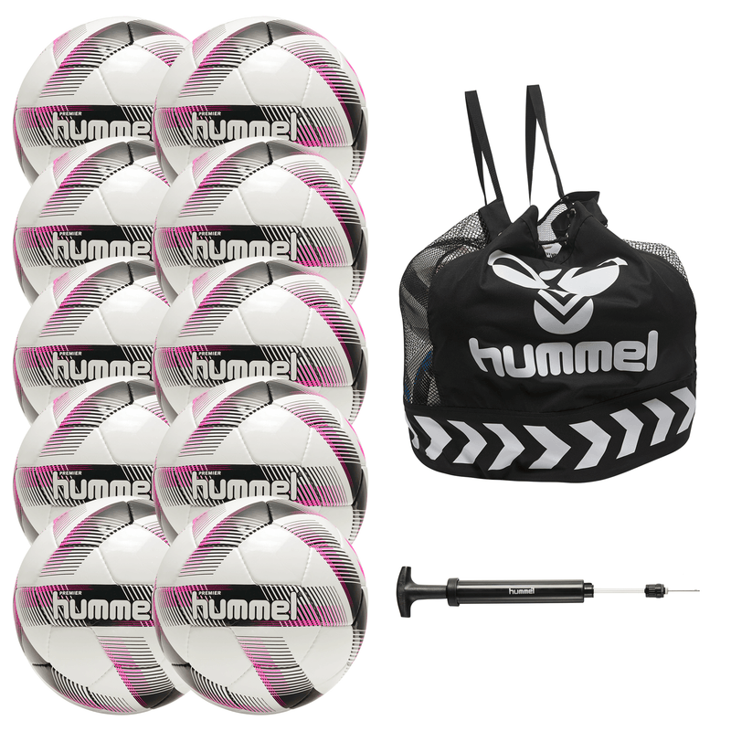 hummel Premier Soccer Ball 10-Pack with Core Ball Bag and Ball Pump-Soccer Command