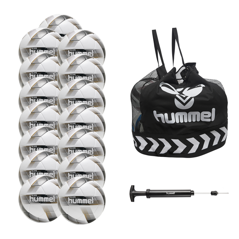 hummel Blade Pro Match Soccer Ball 15-Pack with Core Ball Bag and Ball Pump-Soccer Command