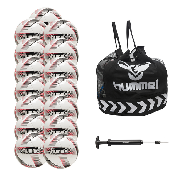 hummel Elite Soccer Ball 15-Pack with Core Ball Bag and Ball Pump-Soccer Command