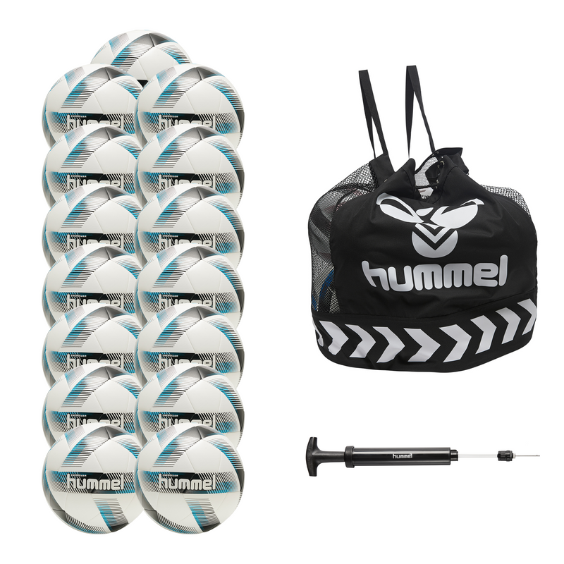 hummel Energizer Soccer Ball 15-Pack with Core Ball Bag and Ball Pump-Soccer Command