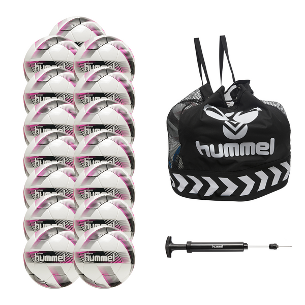hummel Premier Soccer Ball 15-Pack with Core Ball Bag and Ball Pump-Soccer Command