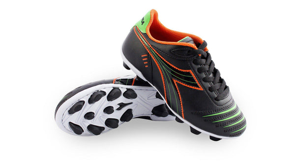 Diadora Cattura MD Jr. Soccer Cleats (Black/Orange)-Footwear-Soccer Source