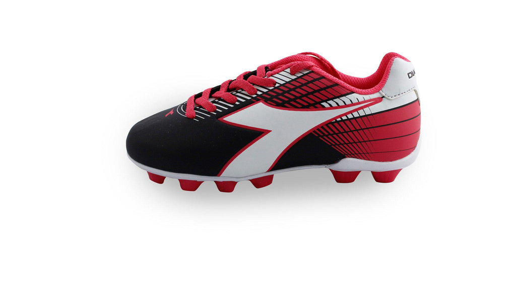 Diadora Ladro MD Jr. Soccer Cleats (black/white/pink)
