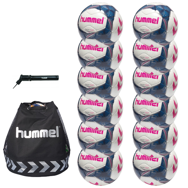 hummel Concept Plus Soccer Ball 12-Pack with Authentic Charge Ball Bag and Mini Pump-Soccer Command