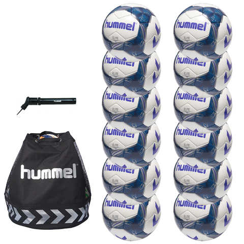 hummel Elite Soccer Ball 12-Pack with Authentic Charge Ball Bag and Mini Pump