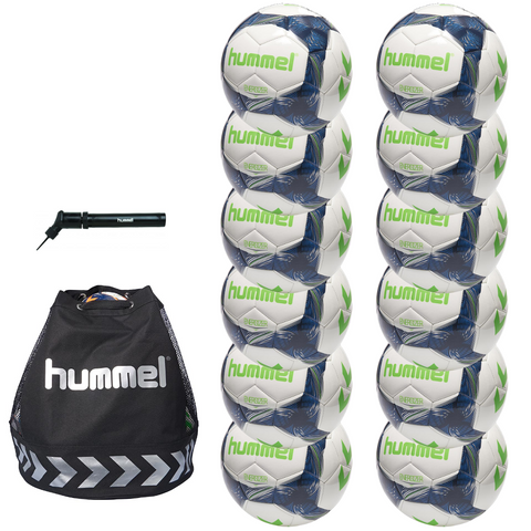 hummel Energizer Soccer Ball 12-Pack with Authentic Charge Ball Bag and Mini Pump