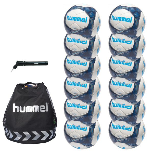 hummel Futsal Ball 12-Pack with Authentic Charge Ball Bag and Mini Pump-Equipment-Soccer Source