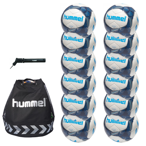 hummel Futsal Ball 12-Pack with Authentic Charge Ball Bag and Mini Pump