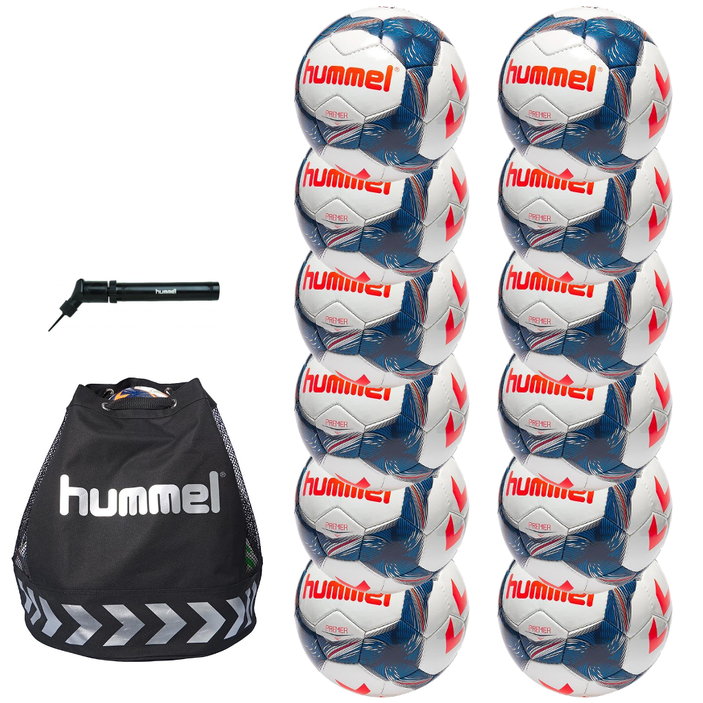 hummel Premier Soccer Ball 12-Pack with Authentic Charge Ball Bag and Mini Pump