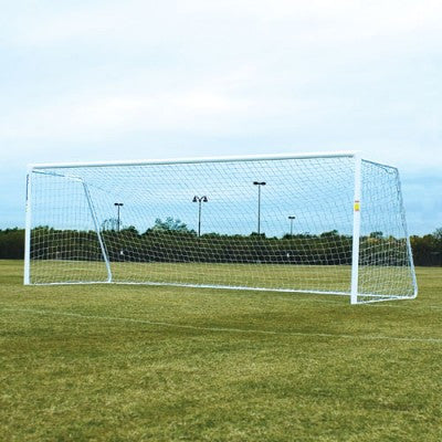 "8' x 24' Alumagoal Powder-Coated White 4"" Round Classic Soccer Goals (pair)-Soccer Command"