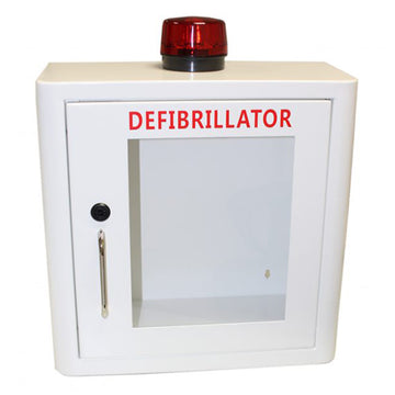 Indoor White Defibrillator Cabinet Unlocked