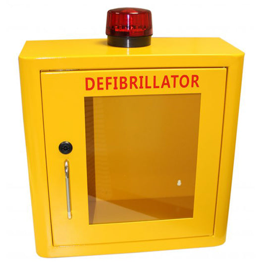 Indoor Yellow Defibrillator Cabinet Locked