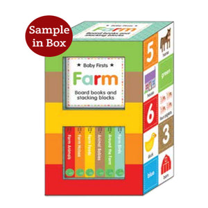 Baby's Firsts Farm Board books and stacking blocks