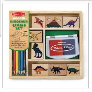 Dinosaur Stamp Set: 8 Wooden Stamps, 5 Colored Pencils and Durable, Two-colored Stamp Pad