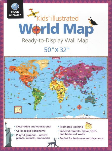 "Kids' Illustrated World Map: 50"" X 32"" Ready to Display  Email Content Map"
