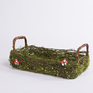 Moss Basket with Forest Mushrooms