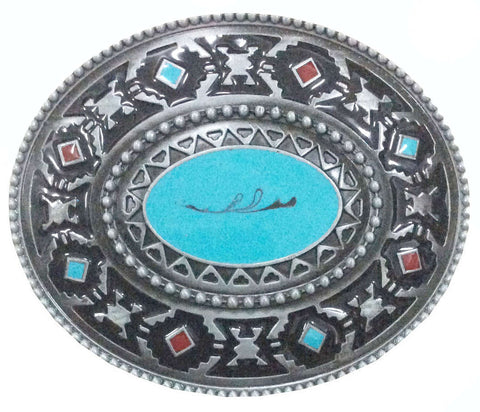 Aztec Belt Buckle | Turquoise & Red