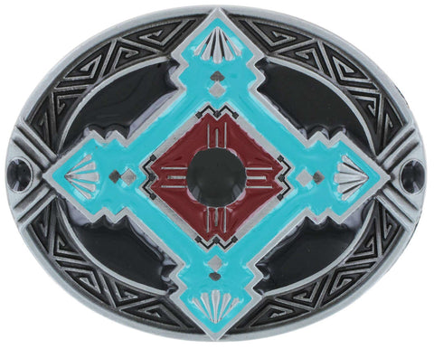 Aztec Belt Buckle | Blue Black Enamel