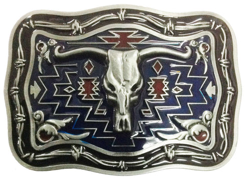 Steer Head Enamel Belt Buckle Square
