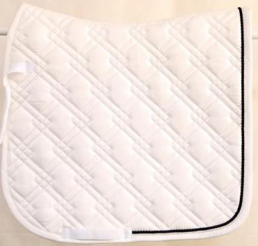 Dressage Saddle Cloth | White with Black and Crystal Trim