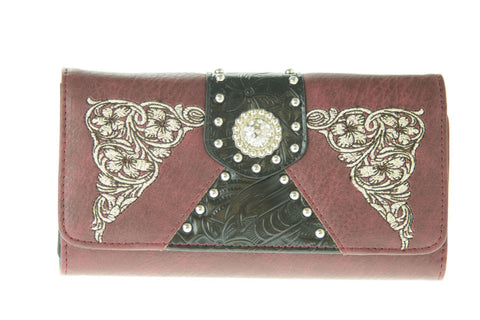 Brigalow | Ladies Western Maroon Faux Leather Purse with Concho
