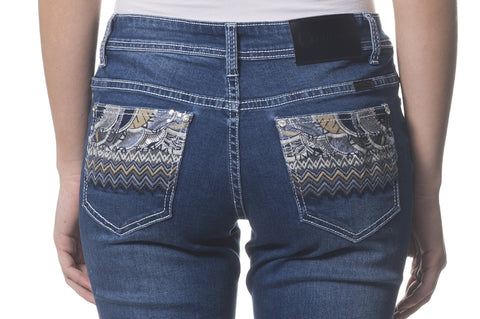 'Wild Child' Raven- Bling Stretch Jeans - Outback Supply Co