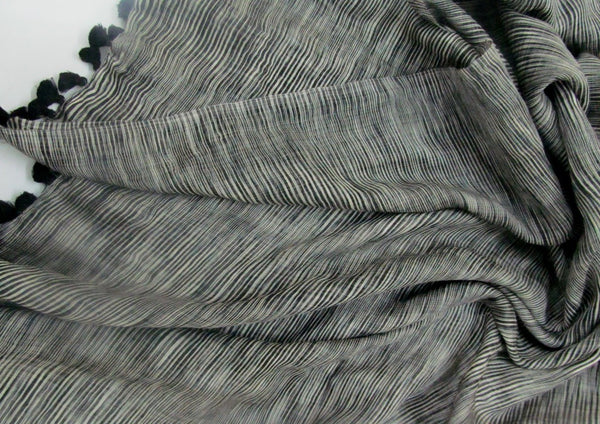 Handwoven wool silk blended scarf