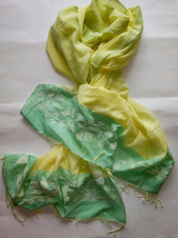 Handwoven yellow green cotton Jaamdani scarf